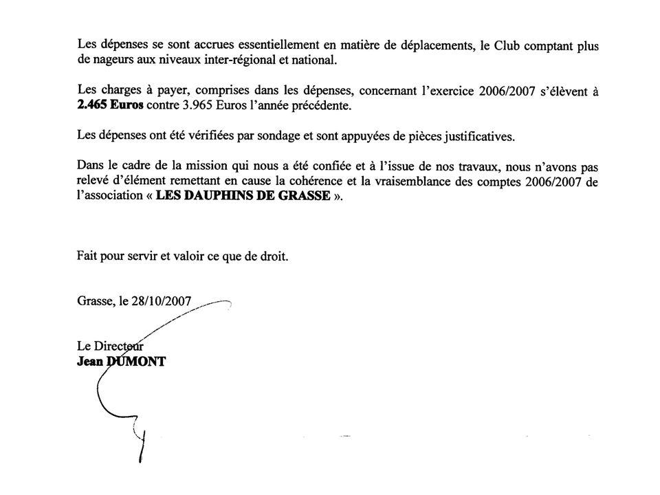 ETAT FINANCIER DU CLUB au 30/08/07 SOLDE DE LEXERCICE 2006/2007 - 3481,61 COMPTE BANCAIRE +1954,24 CAISSE +130,49 LIVRET EPARGNE +24415,30 ACTIF NET DU CLUB+26500,02