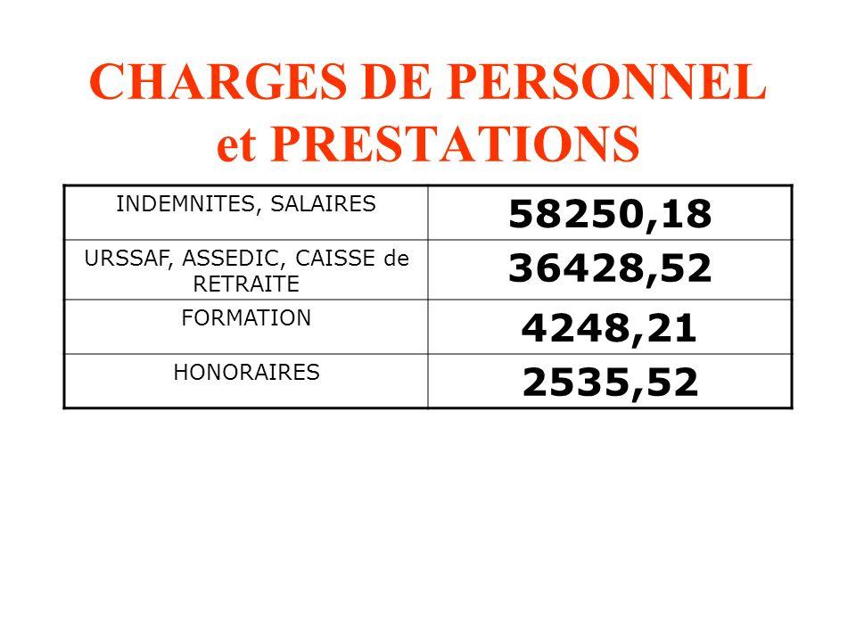 CHARGES DE PERSONNEL et PRESTATIONS INDEMNITES, SALAIRES 58250,18 URSSAF, ASSEDIC, CAISSE de RETRAITE 36428,52 FORMATION 4248,21 HONORAIRES 2535,52