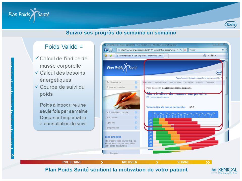 La page personnelle de votre patient sous la loupe Plan Poids Santé soutient la motivation de votre patient PRESCRIREMOTIVERSUIVRE Introduire son poid