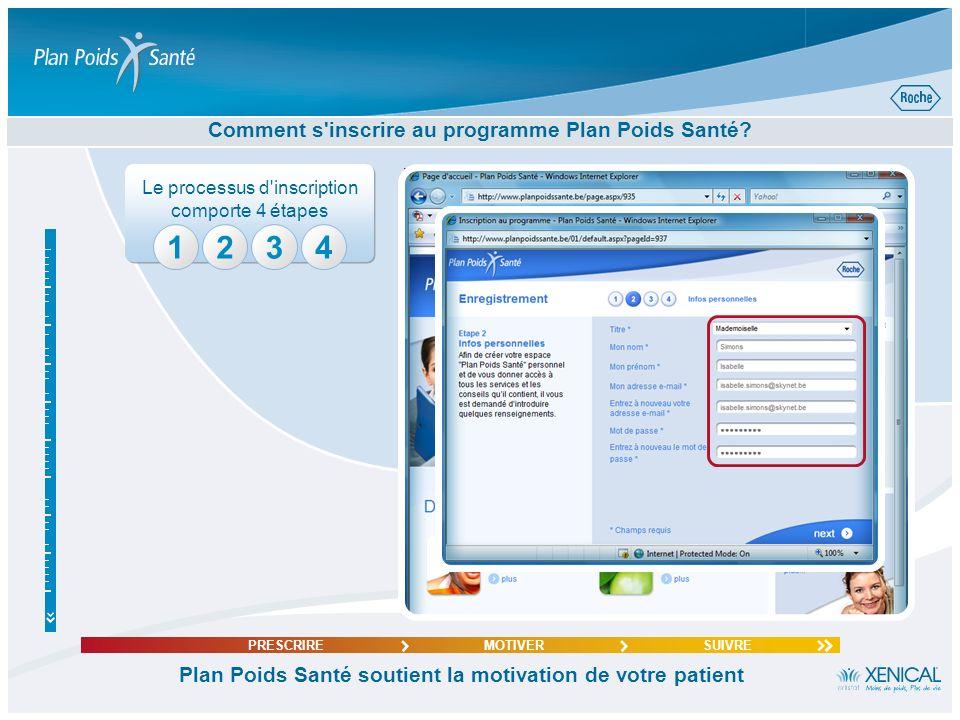 234 Comment s'inscrire au programme Plan Poids Santé? Plan Poids Santé soutient la motivation de votre patient PRESCRIREMOTIVERSUIVRE 1