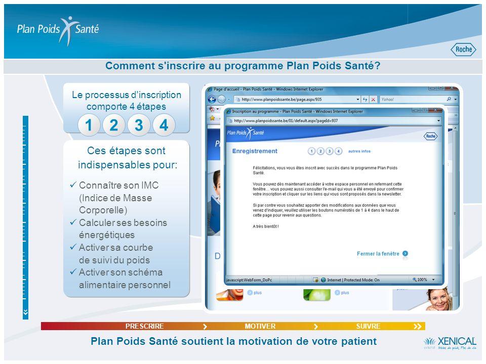 Le processus d'inscription comporte 4 étapes 4 Comment s'inscrire au programme Plan Poids Santé? Plan Poids Santé soutient la motivation de votre pati