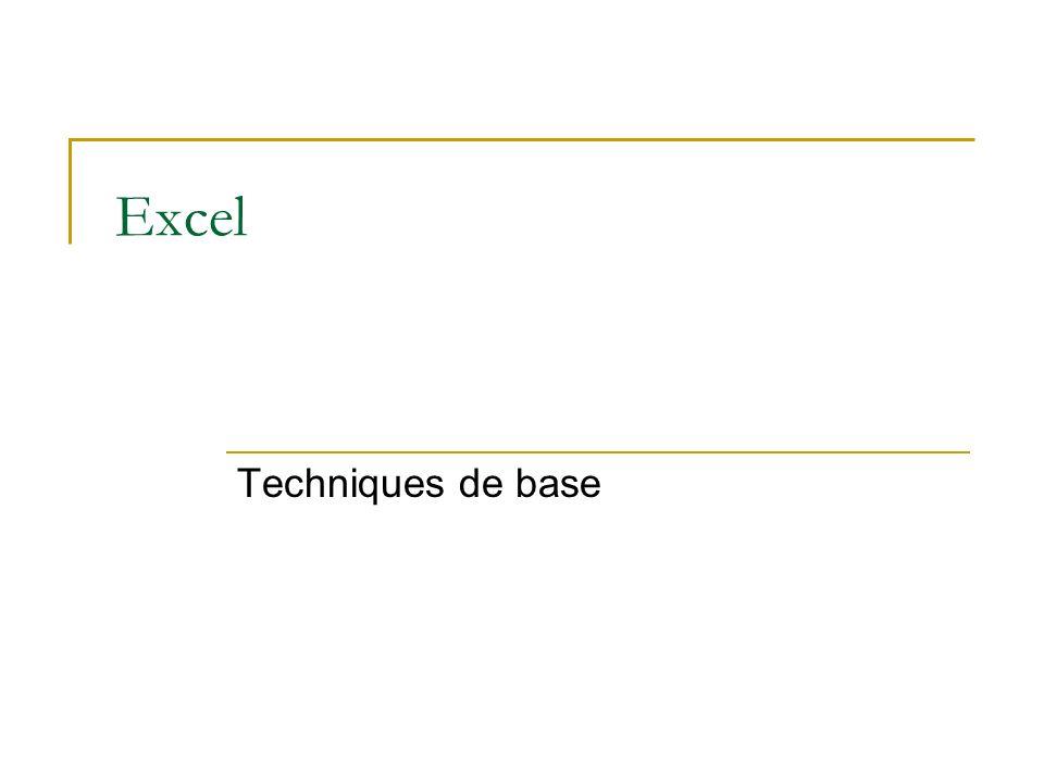 Excel Techniques de base