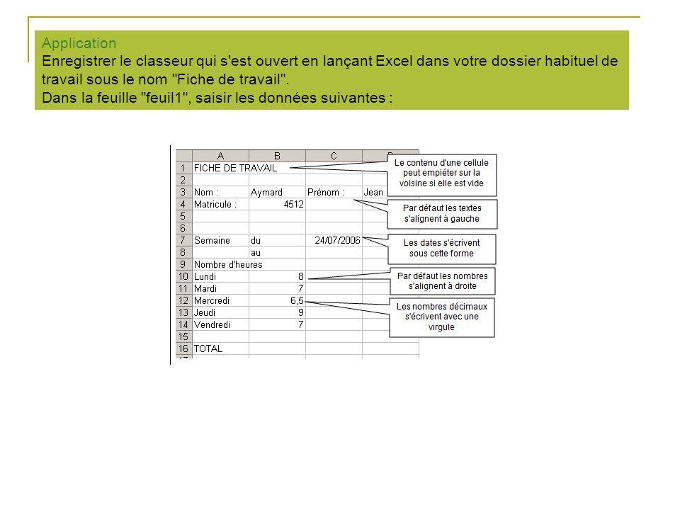 Application Enregistrer le classeur qui s'est ouvert en lançant Excel dans votre dossier habituel de travail sous le nom