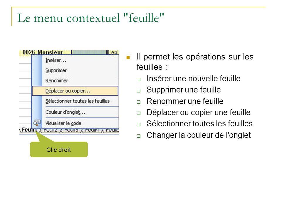 Le menu contextuel