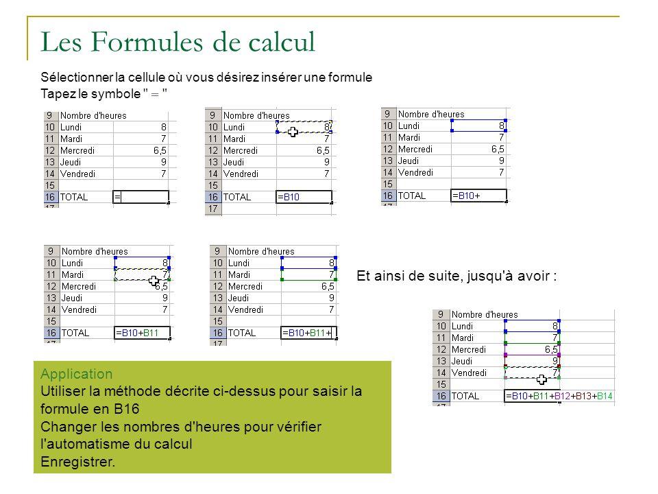 Les Formules de calcul Sélectionner la cellule où vous désirez insérer une formule Tapez le symbole
