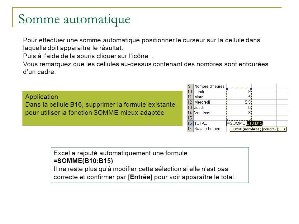 Somme automatique Pour effectuer une somme automatique positionner le curseur sur la cellule dans laquelle doit apparaître le résultat. Puis à laide d