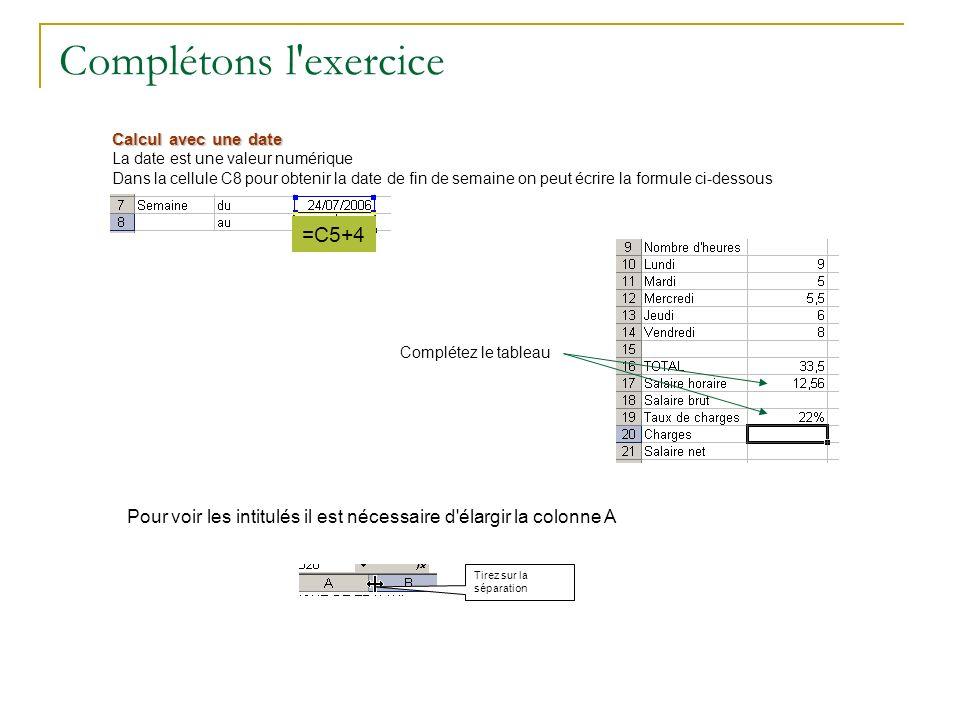 Complétons l'exercice Calcul avec une date La date est une valeur numérique Dans la cellule C8 pour obtenir la date de fin de semaine on peut écrire l