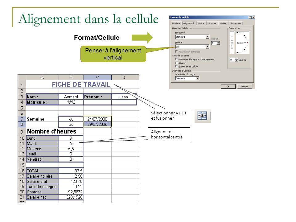 Alignement dans la cellule Format/Cellule Penser à l'alignement vertical Sélectionner A1:D1 et fusionner Alignement horizontal centré Format/Cellule