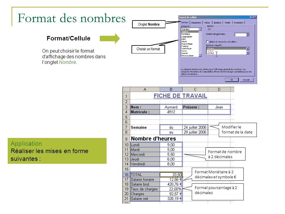 Format des nombres On peut choisir le format d'affichage des nombres dans longlet Nombre. Format/Cellule Application Réaliser les mises en forme suiva