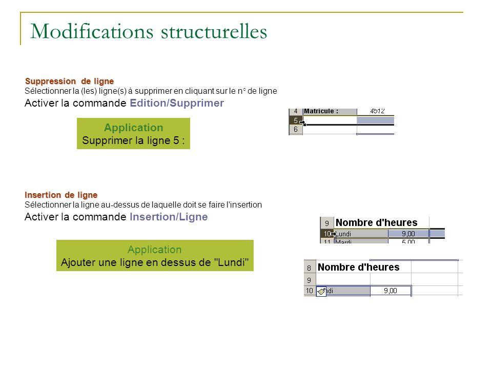 Modifications structurelles Suppression de ligne Sélectionner la (les) ligne(s) à supprimer en cliquant sur le n° de ligne Activer la commande Edition