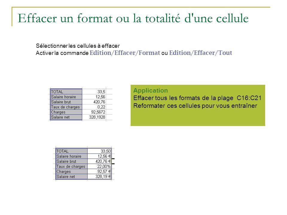 Effacer un format ou la totalité d'une cellule Sélectionner les cellules à effacer Activer la commande Edition/Effacer/Format ou Edition/Effacer/Tout.
