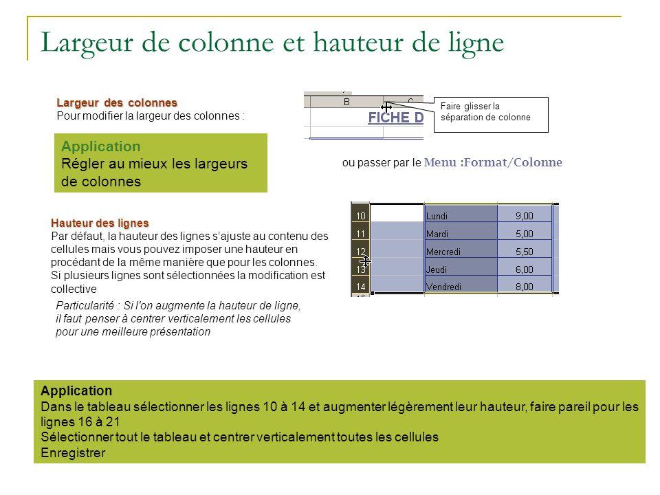Largeur de colonne et hauteur de ligne Faire glisser la séparation de colonne Largeur des colonnes Pour modifier la largeur des colonnes : ou passer p