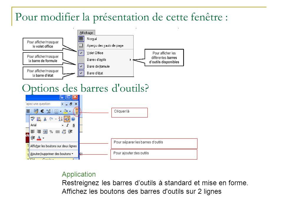 Pour modifier la présentation de cette fenêtre : Options des barres d'outils? Cliquer là Pour séparer les barres d'outils Pour ajouter des outils Appl