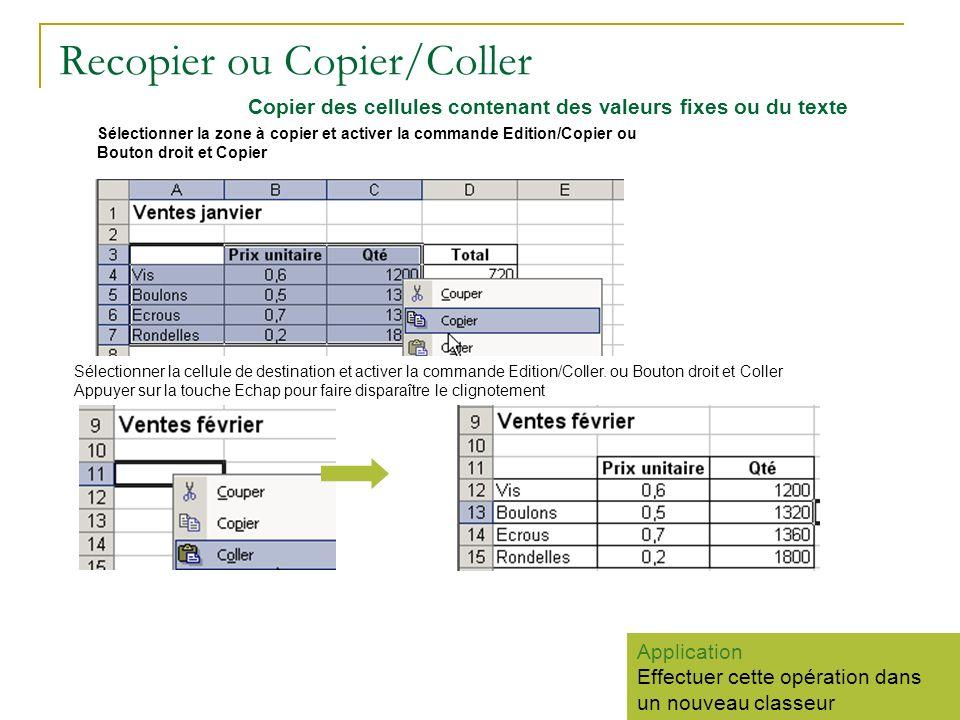 Recopier ou Copier/Coller Sélectionner la zone à copier et activer la commande Edition/Copier ou Bouton droit et Copier Sélectionner la cellule de des