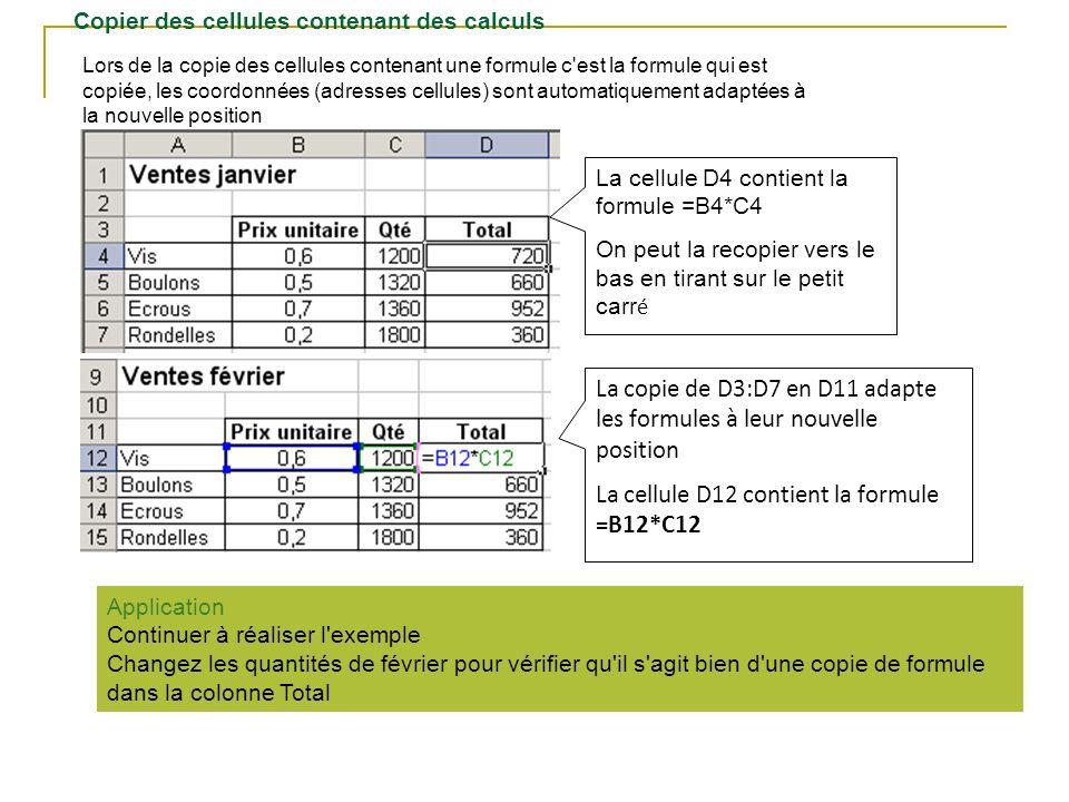 Copier des cellules contenant des calculs Lors de la copie des cellules contenant une formule c'est la formule qui est copiée, les coordonnées (adress
