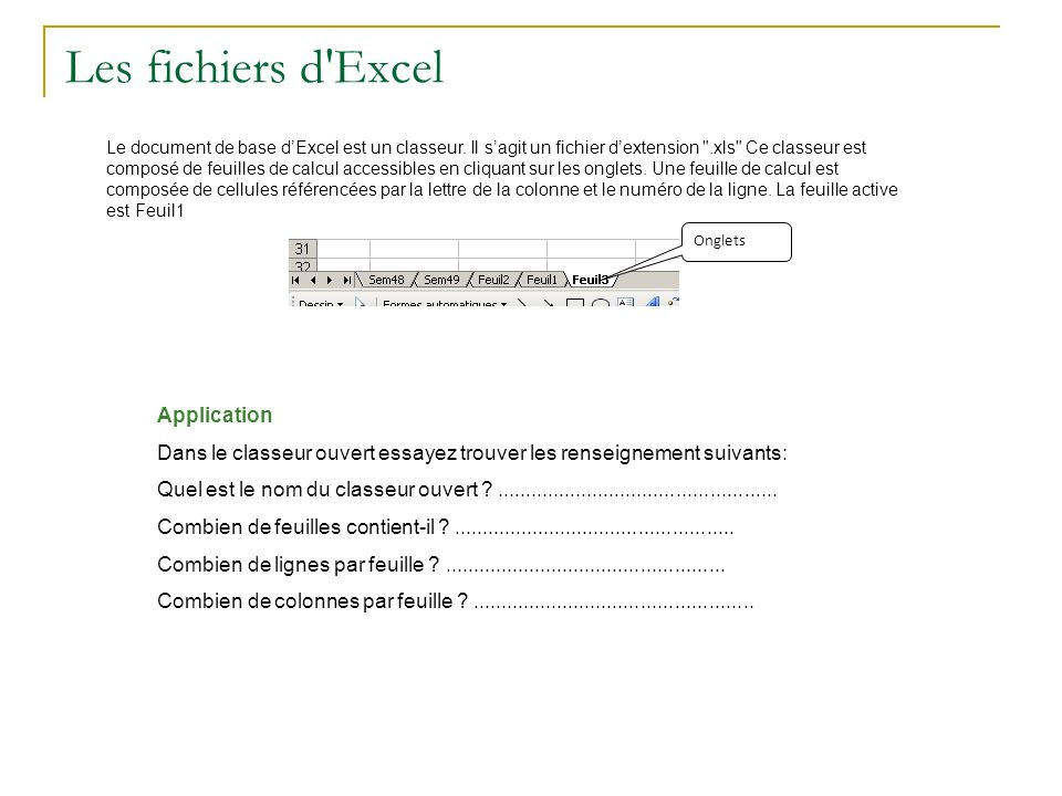 Les fichiers d'Excel Le document de base dExcel est un classeur. Il sagit un fichier dextension