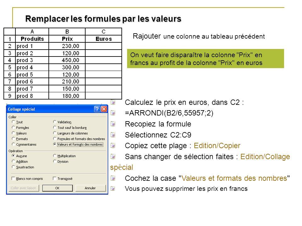 Remplacer les formules par les valeurs Calculez le prix en euros, dans C2 : =ARRONDI(B2/6,55957;2) Recopiez la formule Sélectionnez C2:C9 Copiez cette
