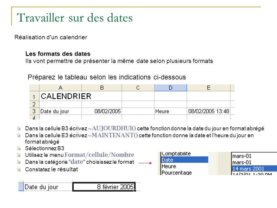 Travailler sur des dates Réalisation d'un calendrier Les formats des dates Ils vont permettre de présenter la même date selon plusieurs formats Prépar