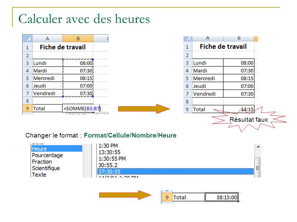 Calculer avec des heures Résultat faux Changer le format : Format/Cellule/Nombre/Heure