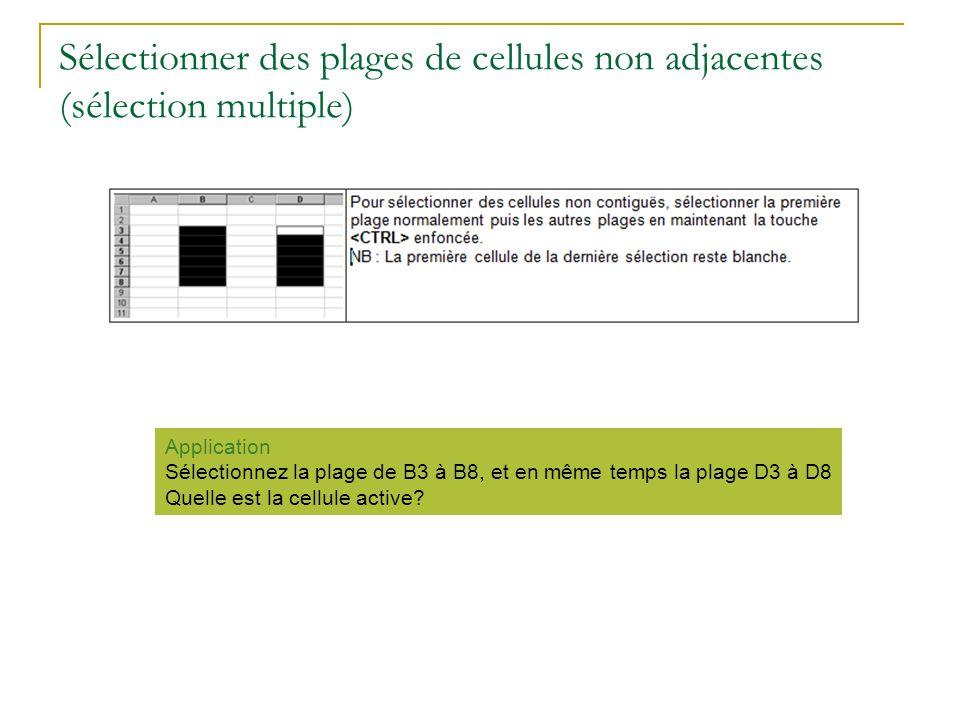 Sélectionner des plages de cellules non adjacentes (sélection multiple) Application Sélectionnez la plage de B3 à B8, et en même temps la plage D3 à D