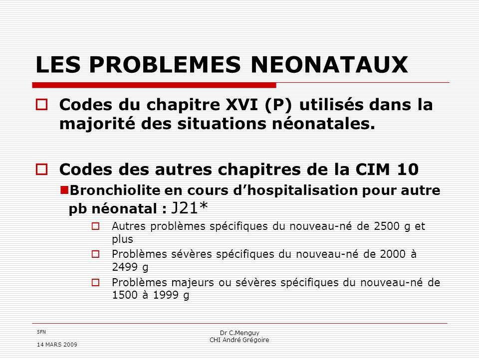 SFN 14 MARS 2009 Dr C.Menguy CHI André Grégoire LES PROBLEMES NEONATAUX Codes du chapitre XVI (P) utilisés dans la majorité des situations néonatales.