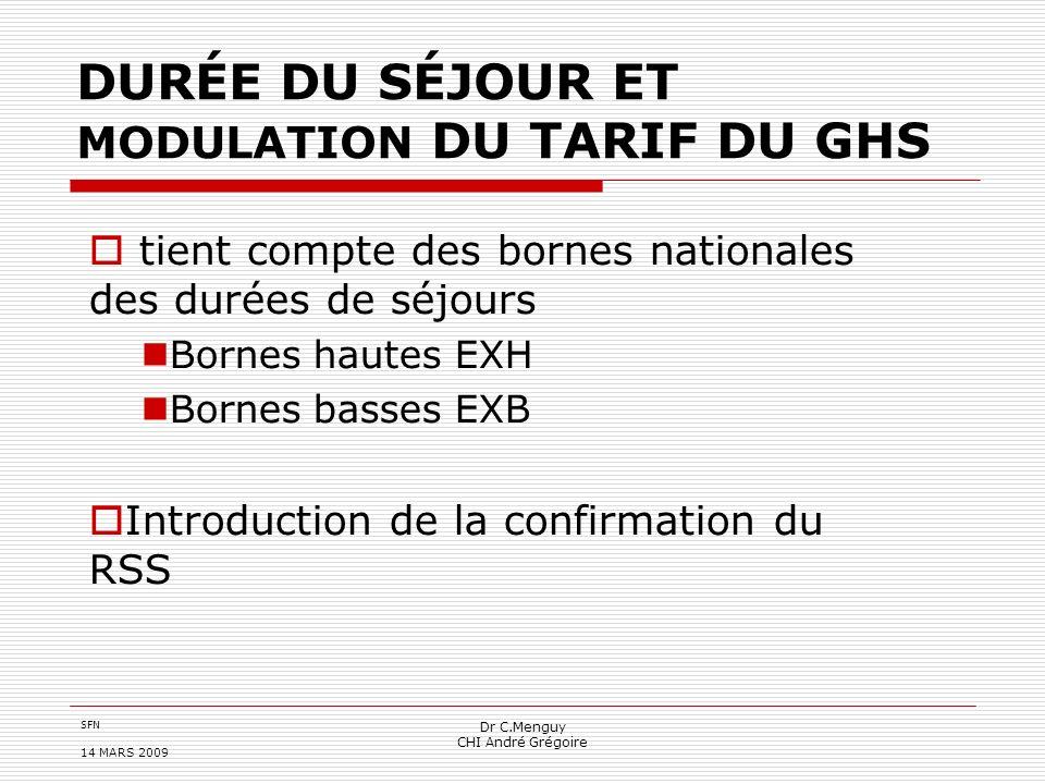 SFN 14 MARS 2009 Dr C.Menguy CHI André Grégoire DURÉE DU SÉJOUR ET MODULATION DU TARIF DU GHS tient compte des bornes nationales des durées de séjours
