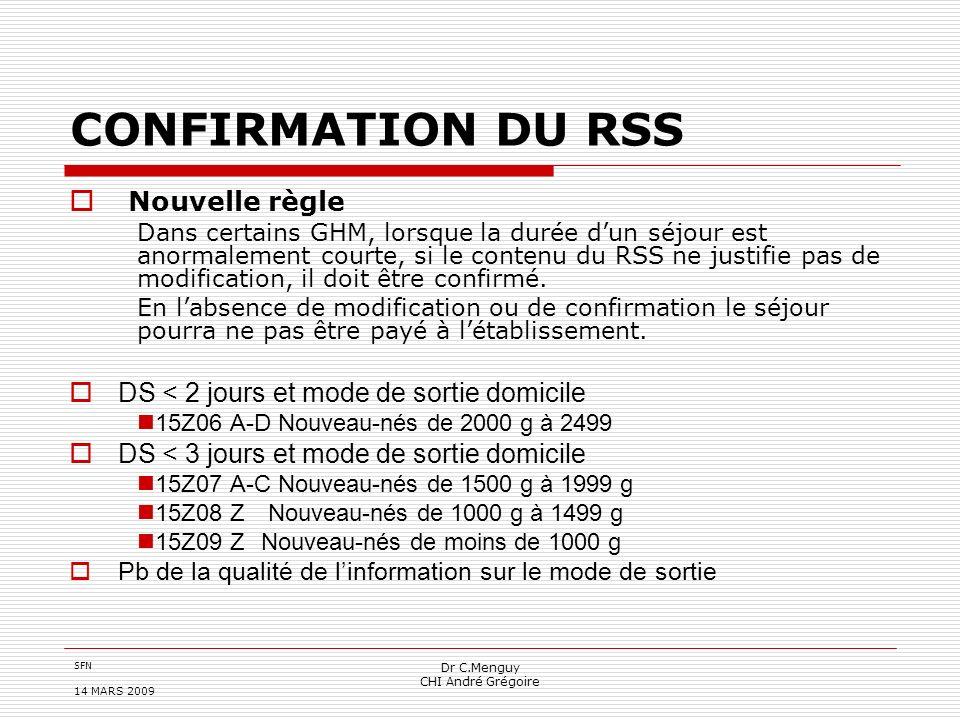 SFN 14 MARS 2009 Dr C.Menguy CHI André Grégoire CONFIRMATION DU RSS Nouvelle règle Dans certains GHM, lorsque la durée dun séjour est anormalement cou