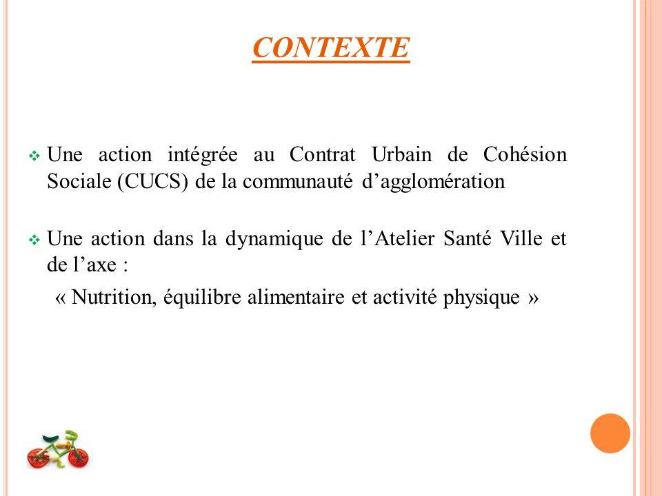 CONTEXTE Une action intégrée au Contrat Urbain de Cohésion Sociale (CUCS) de la communauté dagglomération Une action dans la dynamique de lAtelier Santé Ville et de laxe : « Nutrition, équilibre alimentaire et activité physique »