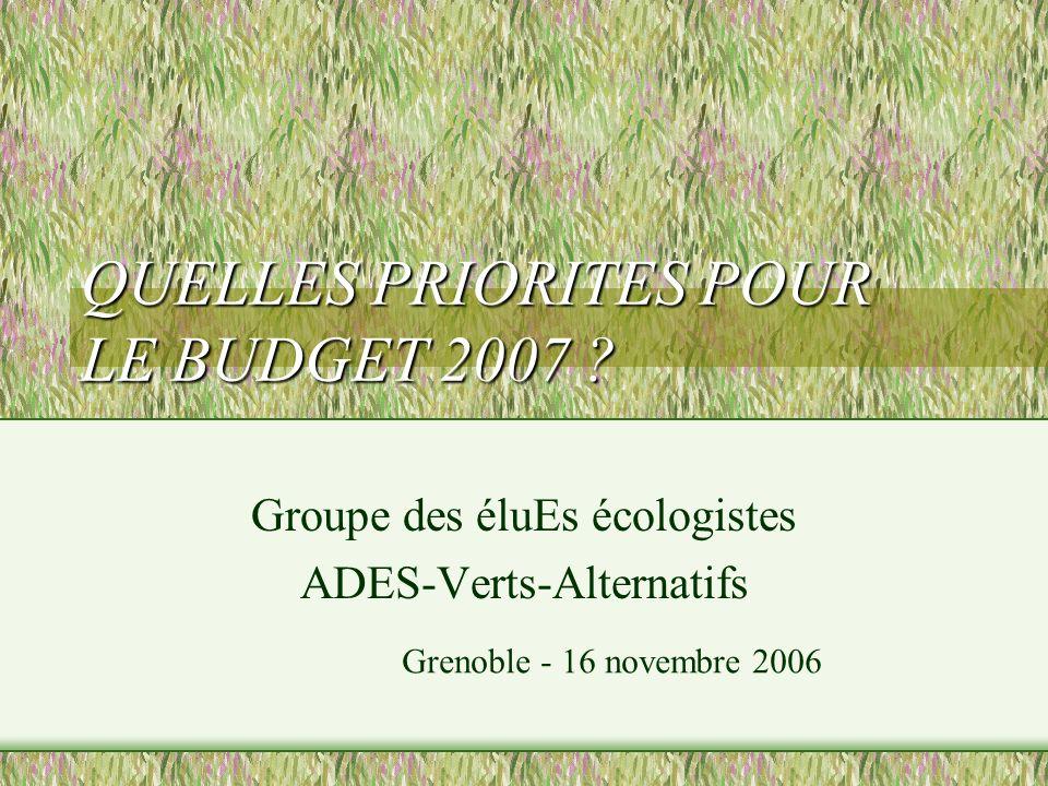 QUELLES PRIORITES POUR LE BUDGET 2007 .