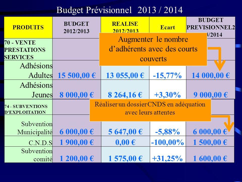PRODUITS BUDGET 2012/2013 REALISE 2012/2013 Ecart BUDGET PREVISIONNEL2 013/2014 70 - VENTE PRESTATIONS SERVICES Adhésions Adultes15 500,00 13 055,00 -