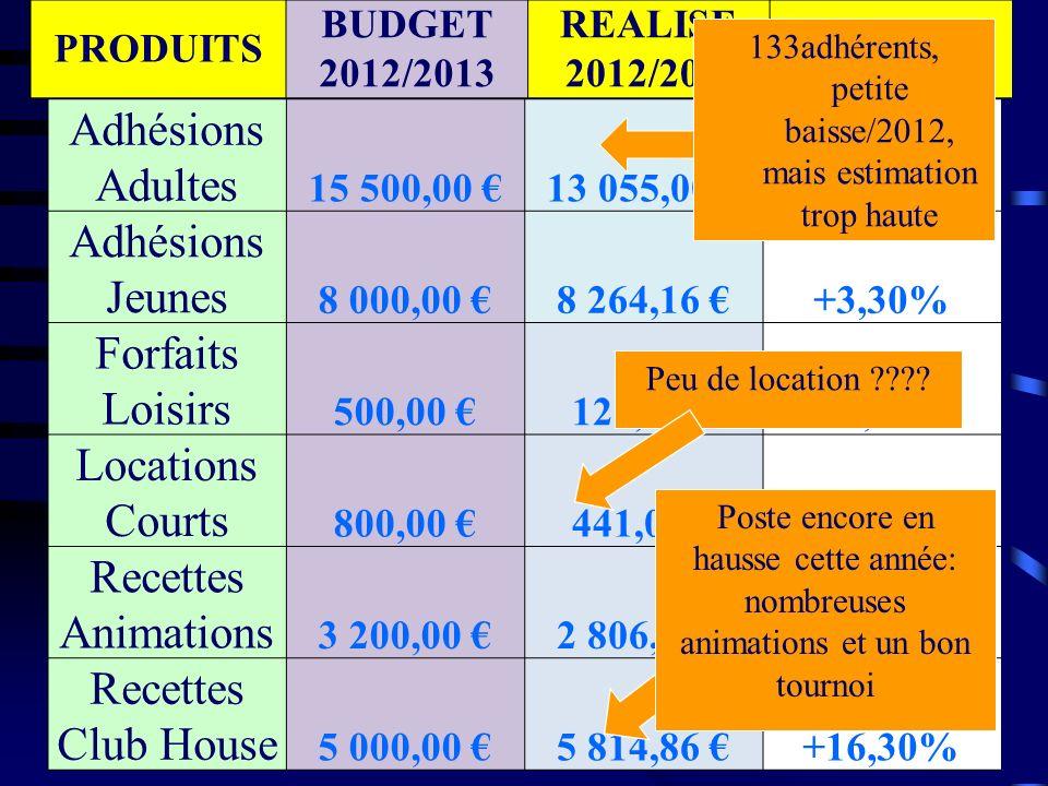 Subvention Municipalité 6 000,00 5 647,00 -5,88% C.N.D.S 1 900,00 0,00 -100,00% Subvention comité/ ligue 1 200,00 1 575,00 +31,25% SOUS- TOTAL 74 9 100,00 8 322,00 -8,55% PRODUITS BUDGET 2012/2013 REALISE 2012/2013 Ecart Dossier non retenu