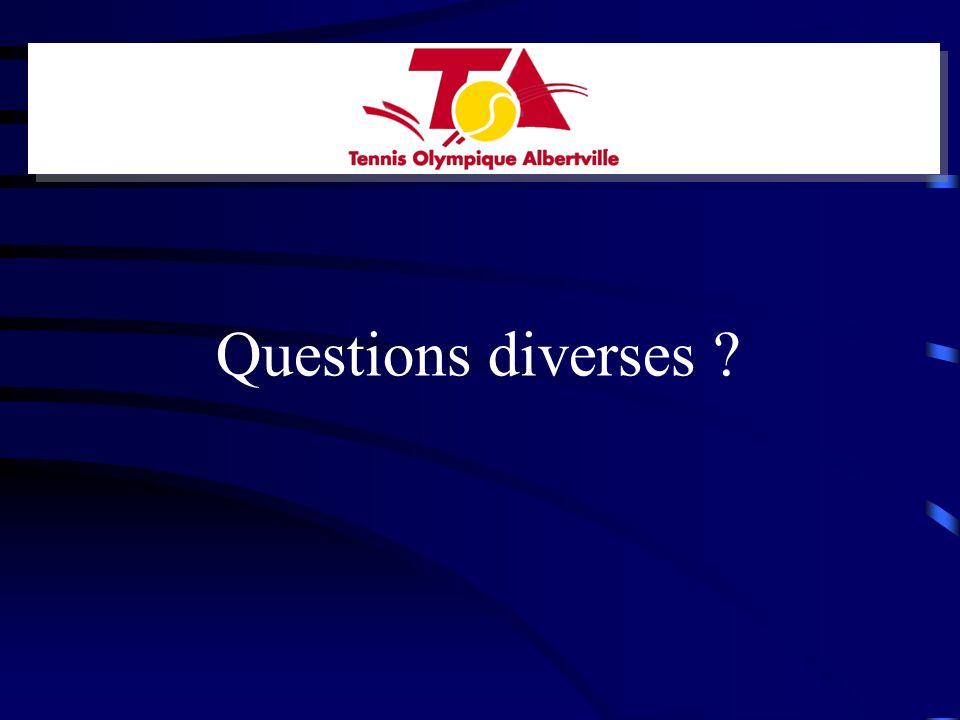Questions diverses ?