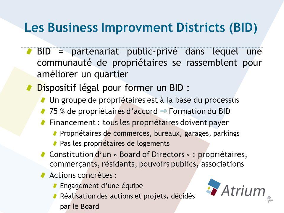 BID Les actions se concentrent principalement sur : La propreté La sécurité Le réaménagement léger despaces publics La promotion