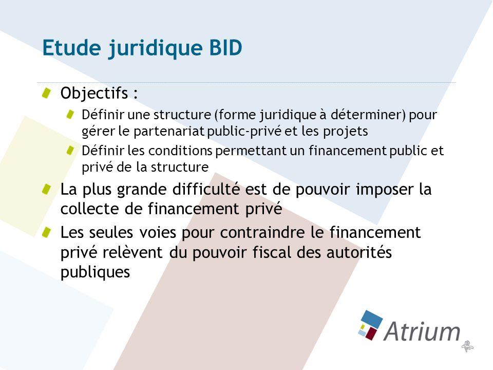 Etude juridique 1ères pistes : Structure de type ASBL Financement privé : Impôt communal sur base de critères objectifs permettant dimposer les commerçants et propriétaires de certains quartiers en vue de financer tels types de services publics gérés par la structure.