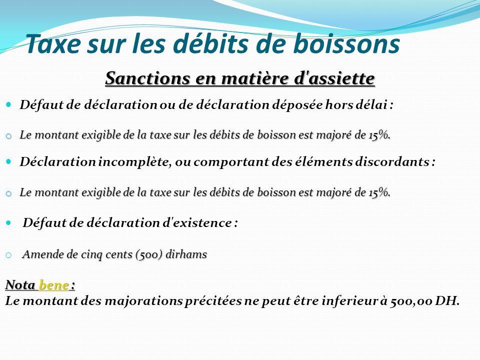 Taxe sur les débits de boissons Sanctions en matière d'assiette Défaut de déclaration ou de déclaration déposée hors délai : o Le montant exigible de
