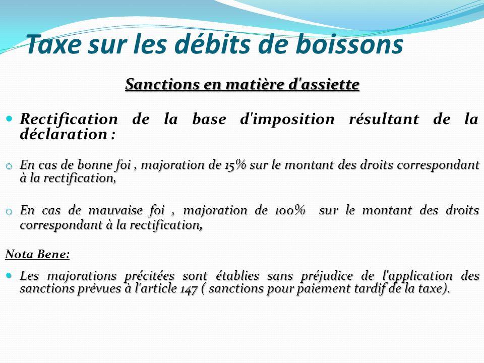 Taxe sur les débits de boissons Sanctions en matière d'assiette Rectification de la base d'imposition résultant de la déclaration : o En cas de bonne