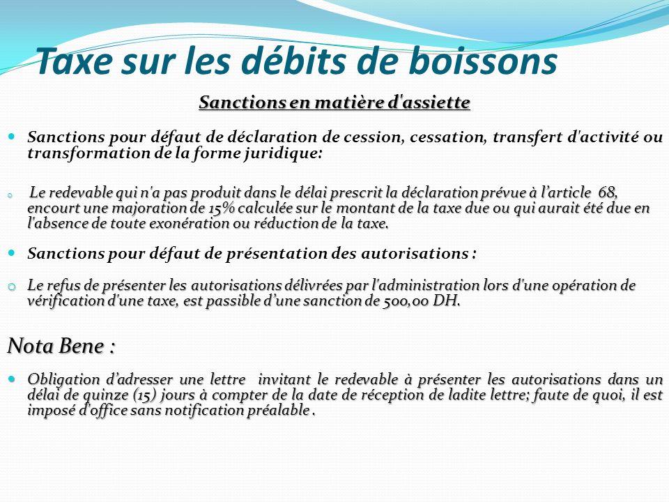 Taxe sur les débits de boissons Sanctions en matière d'assiette Sanctions pour défaut de déclaration de cession, cessation, transfert d'activité ou tr