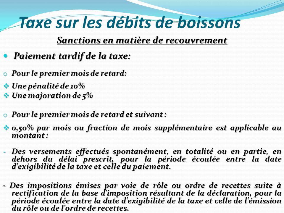 Taxe sur les débits de boissons Sanctions en matière de recouvrement Paiement tardif de la taxe: Paiement tardif de la taxe: o Pour le premier mois de