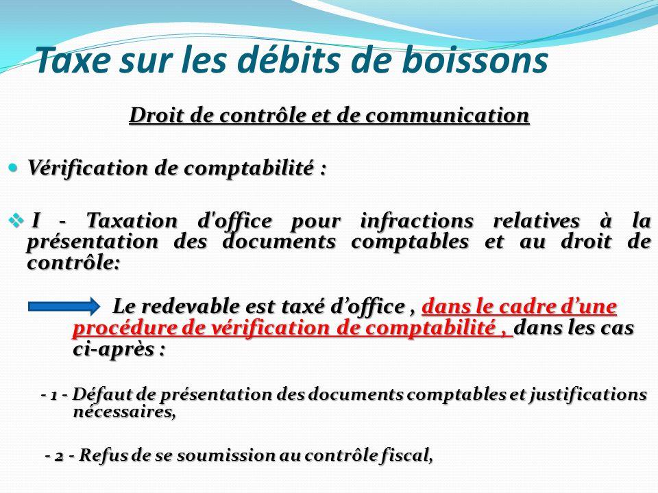 Taxe sur les débits de boissons Droit de contrôle et de communication Vérification de comptabilité : Vérification de comptabilité : I - Taxation d'off