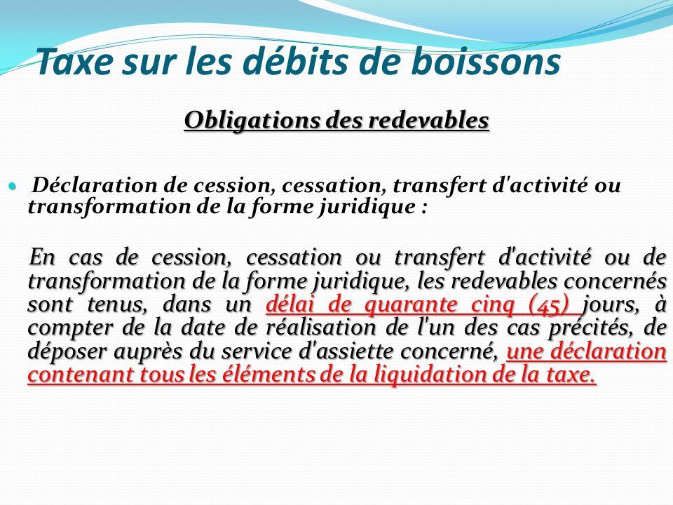 Taxe sur les débits de boissons Obligations des redevables Déclaration de cession, cessation, transfert d'activité ou transformation de la forme jurid