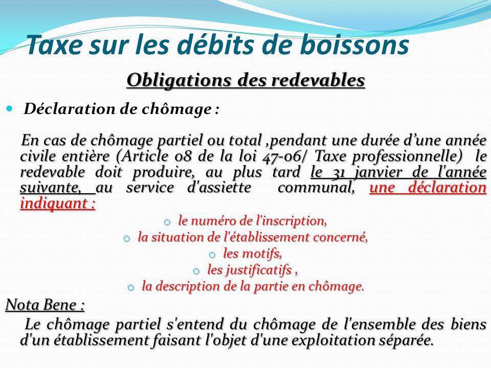 Taxe sur les débits de boissons Sanctions en matière d assiette Défaut de déclaration ou de déclaration déposée hors délai : o Le montant exigible de la taxe sur les débits de boisson est majoré de 15%.