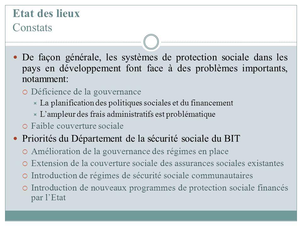 Etat des lieux Constats De façon générale, les systèmes de protection sociale dans les pays en développement font face à des problèmes importants, not