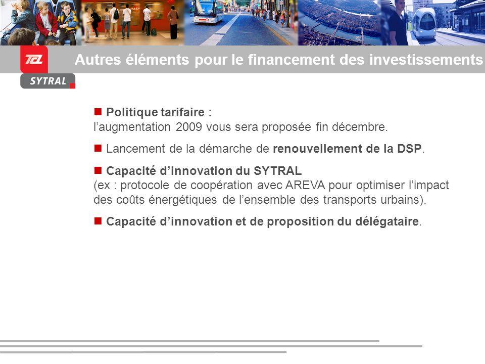 Présentation du SYTRAL et du tramway de lagglomération lyonnaise Autres éléments pour le financement des investissements Politique tarifaire : laugmen