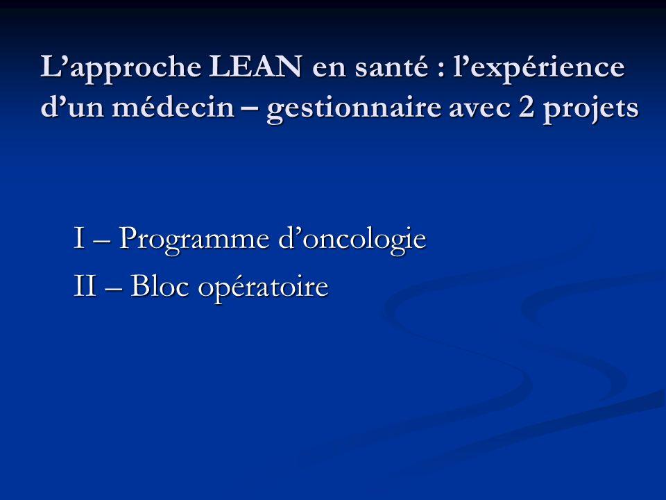 Lapproche LEAN en santé : lexpérience dun médecin – gestionnaire avec 2 projets I – Programme doncologie II – Bloc opératoire