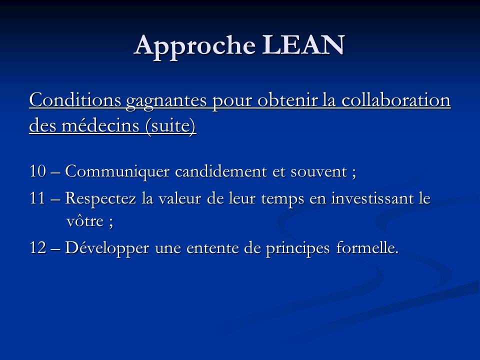 Approche LEAN Conditions gagnantes pour obtenir la collaboration des médecins (suite) 10 – Communiquer candidement et souvent ; 11 – Respectez la vale