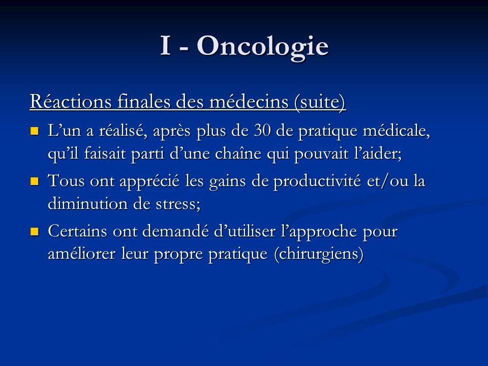 I - Oncologie Résultats : On a éliminé 1 des 3 visites et diminué lattente de 50% en radio-oncologie ; On a «vidé» ou presque la salle dattente ; Augmenté le nombre de chimiothérapie.