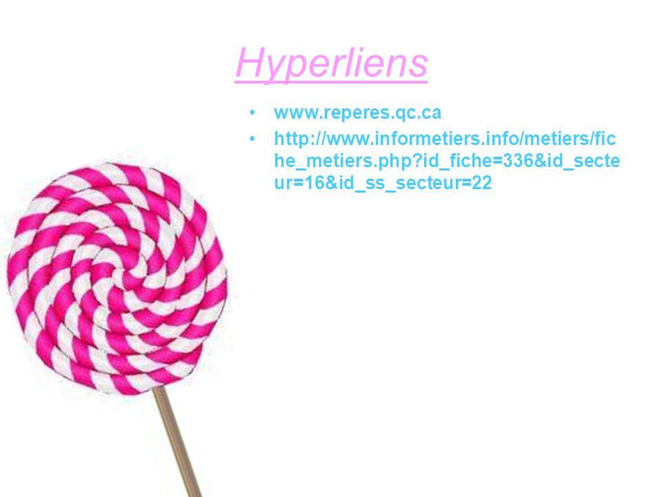 Hyperliens www.reperes.qc.ca http://www.informetiers.info/metiers/fic he_metiers.php?id_fiche=336&id_secte ur=16&id_ss_secteur=22