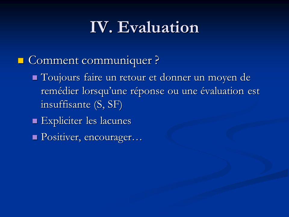 IV.Evaluation Comment communiquer . Comment communiquer .