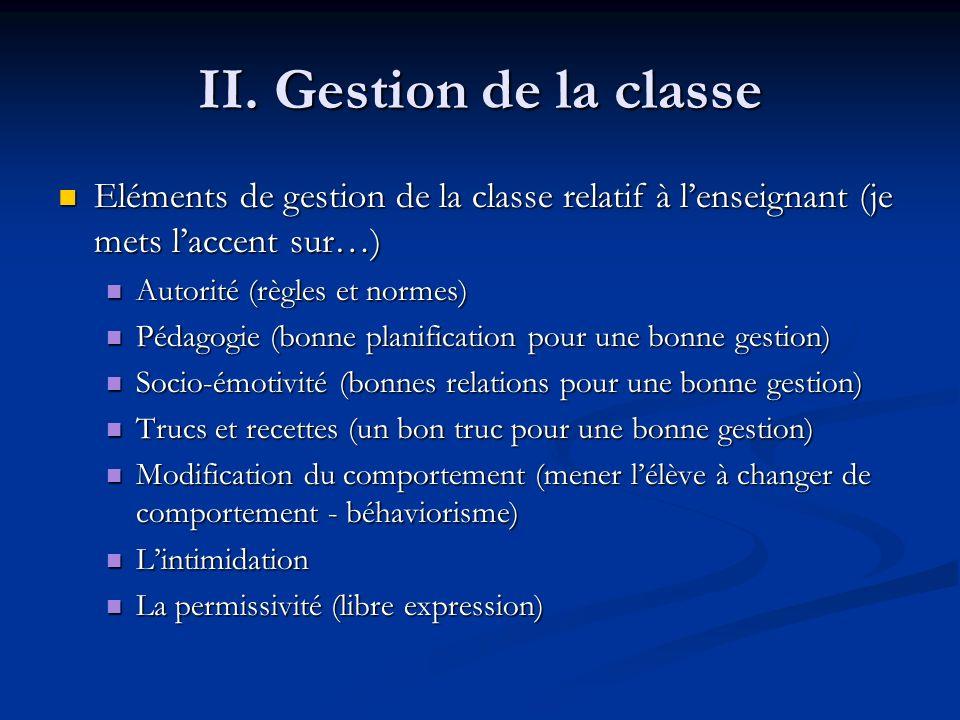 II. Gestion de la classe Eléments de gestion de la classe relatif à lenseignant (je mets laccent sur…) Eléments de gestion de la classe relatif à lens