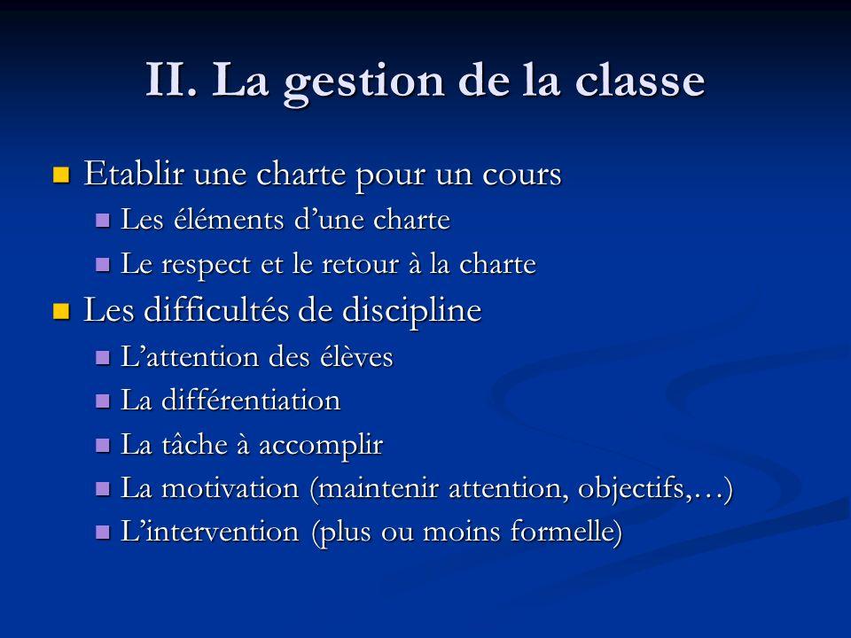 II. La gestion de la classe Etablir une charte pour un cours Etablir une charte pour un cours Les éléments dune charte Les éléments dune charte Le res